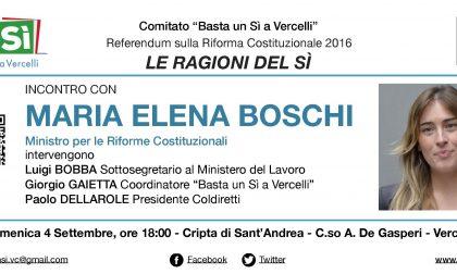 VERCELLI: il 4 settembre ospite in città il Ministro Maria Elena Boschi