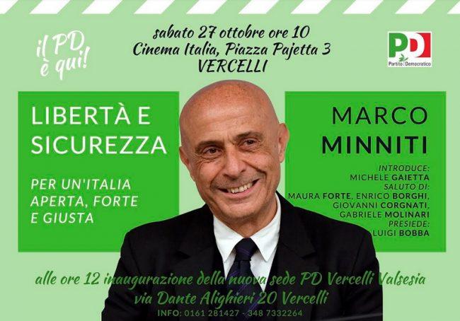 Evento Pd: l&#8217&#x3B;ex ministro Minniti a Vercelli