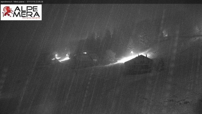 Prima neve in Valsesia: fiocchi dalla serata di giovedì