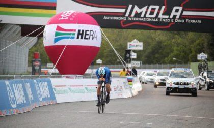 Filippo Ganna campione del mondo a cronometro di ciclismo a Imola