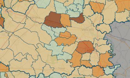 Mappa contagi: nel Vercellese sono raddoppiati in una settimana