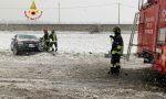 Auto fuori strada a causa della neve