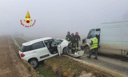 Frontale auto-furgone, un ferito